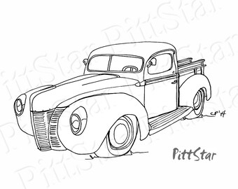 ford pickup truck etsy 1947 Dodge Power Wagon instant download vintage 1940 s ford pickup truck printable coloring page