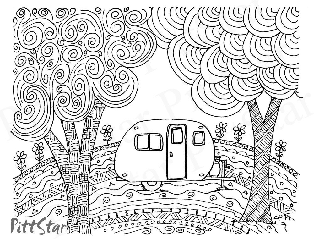 Instant Download Doodled Retro Vintage Whimsical Travel