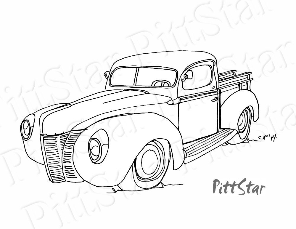 Instant Download Vintage 1940s Ford Pickup Truck