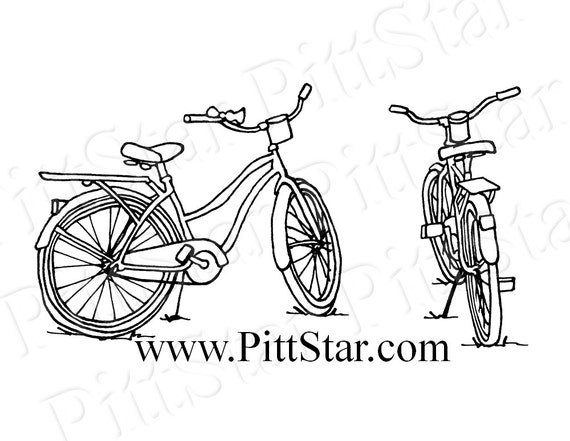 Instant Download Vintage Bikes Printable Coloring Page