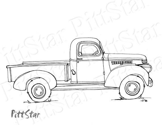coloring pages cars antiques | Instant Download Vintage Truck Printable Coloring Page | Etsy