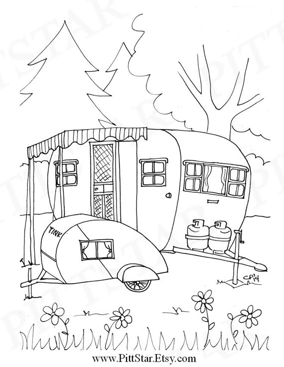 Instant download vintage boles aero travel trailer etsy for Selling coloring pages on etsy
