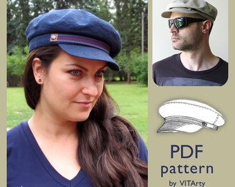 56472b517e8 Fiddler Fisherman Hat PDF Sewing Pattern Size M  DIY clothing  Driving Cap  sewing pattern  Sewing Project