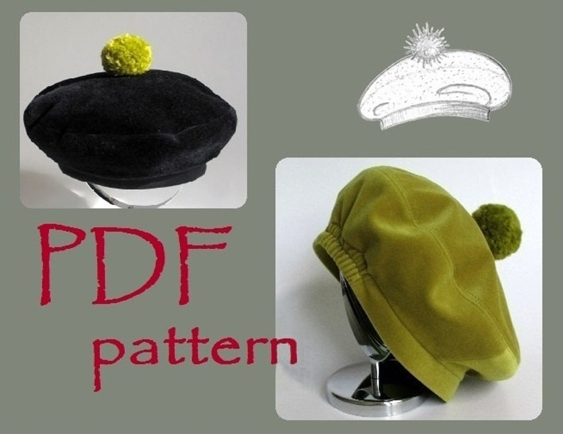 Kids Pom Beret Hat PDF Sewing Pattern  sizes 6m to 12y  f91efd811d2