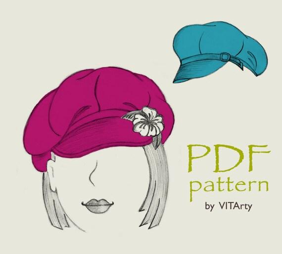 8-Panels Newsboy Hat PDF Sewing Pattern  S M L sizes   68171f416e19