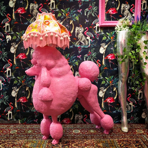 Pink poodle lamp