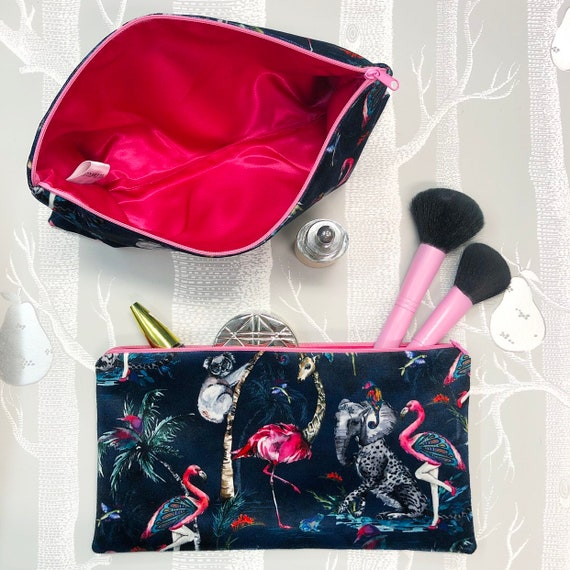 Velvet flat make up bags CHOICE OF DESIGNS