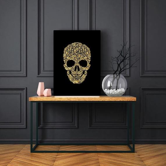 Gold Swirl Skull print