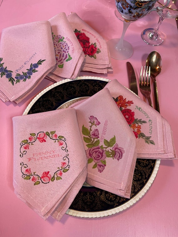 ADULT ONLY Pink Set of six napkins