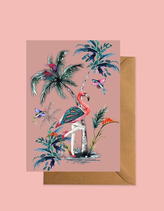 Flamingo greeting card Pink
