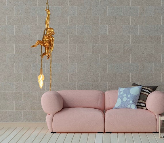 Hanging copper monkey lamp
