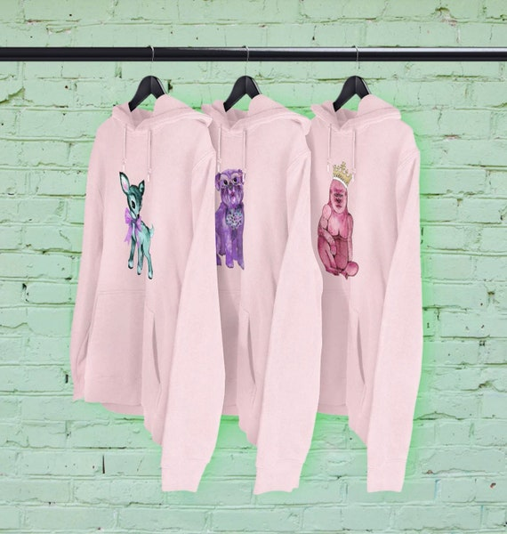 Kitsch characters Pink hoodies CHOICE OF DESIGNS