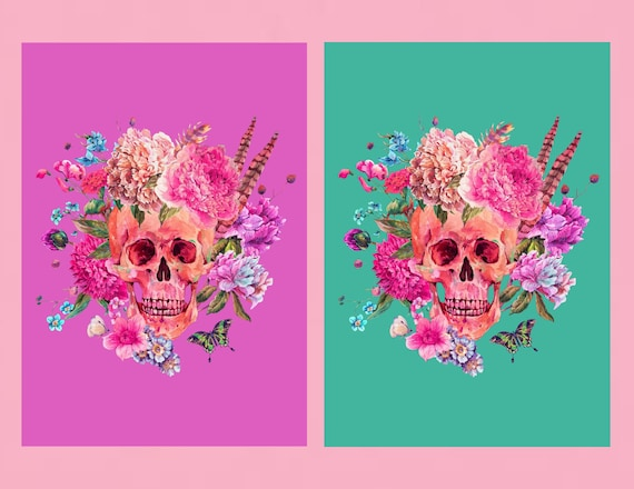 Floral skulls print CHOICE OF COLOURS