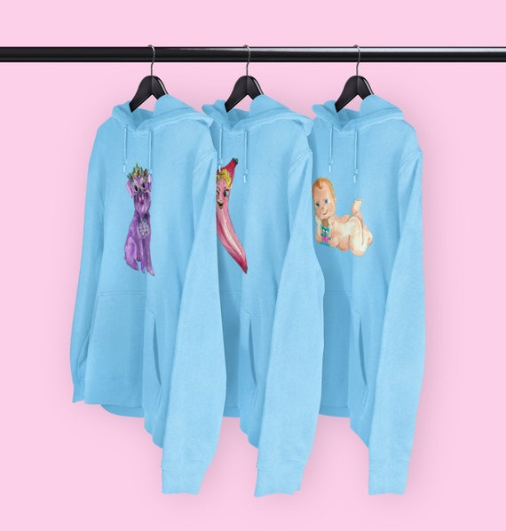 Kitsch characters Blue hoodies CHOICE OF DESIGNS