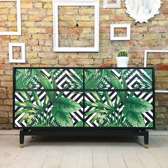 Mid century gold label Gplan chest of drawers geometric palms