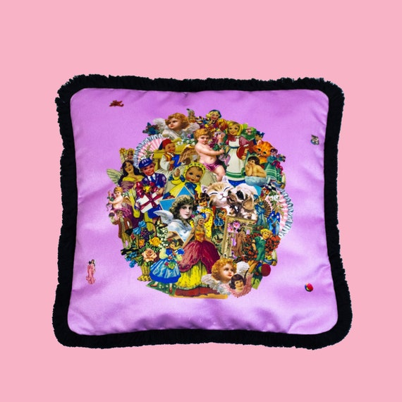 Vintage Scraps Pink - Luxury velvet cushion cover