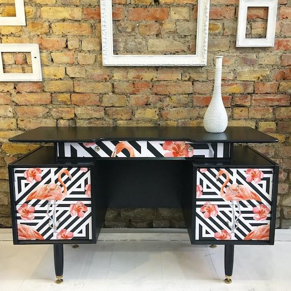 Upcycled vintage retro gplan gold label  dressing table desk geometric flamingos