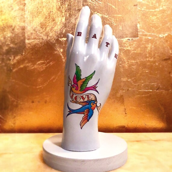 Tattoed hand table lamps CHOICE OF DESIGNS