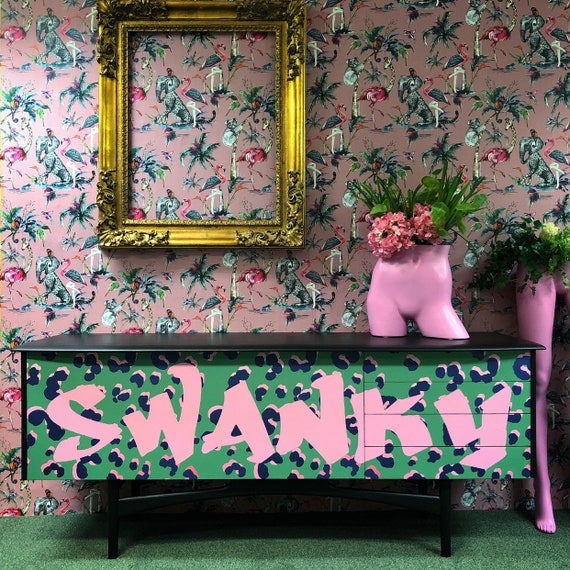 Large flocked swanky sideboard