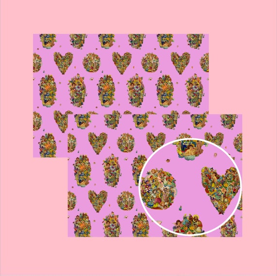 Vintage Scraps Pink  - Wrapping paper
