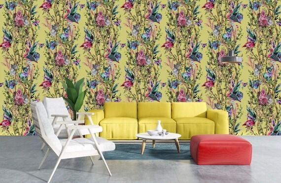 Pompous Pampas Lemon Wallpaper