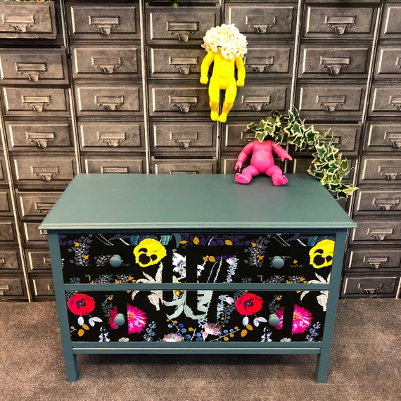 Upcycled vintage solid wood chest of drawers in Christian Lacroix