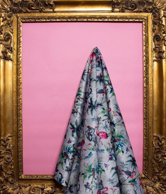 ChiMiracle grey LUXURY VELVET Fabric