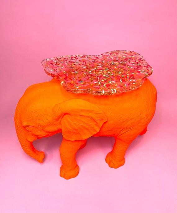 Neon & resin elephant side table
