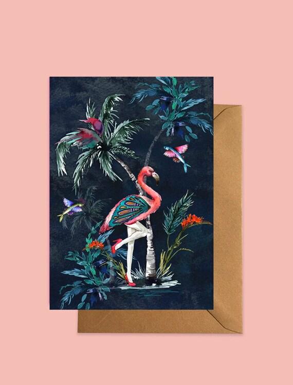 Flamingo greeting card Dark