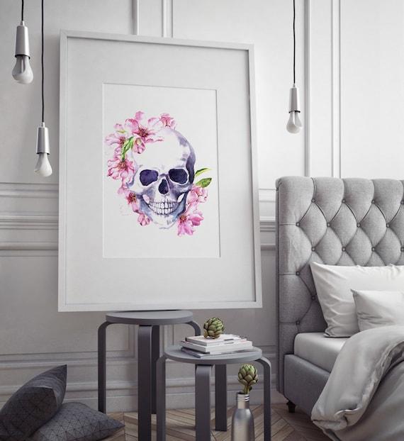 Pink Floral Skull print