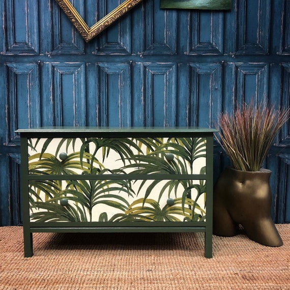 Tropical palm green chest of drawers