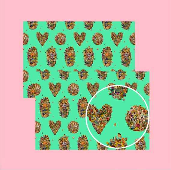 Vintage Scraps Mint - Wrapping paper