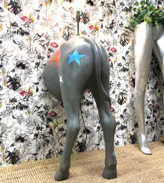 Cow bum lamp grey stars