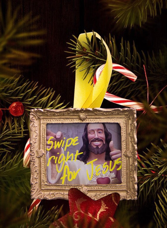 Christmas tree ornament - Swipe Right For Jesus