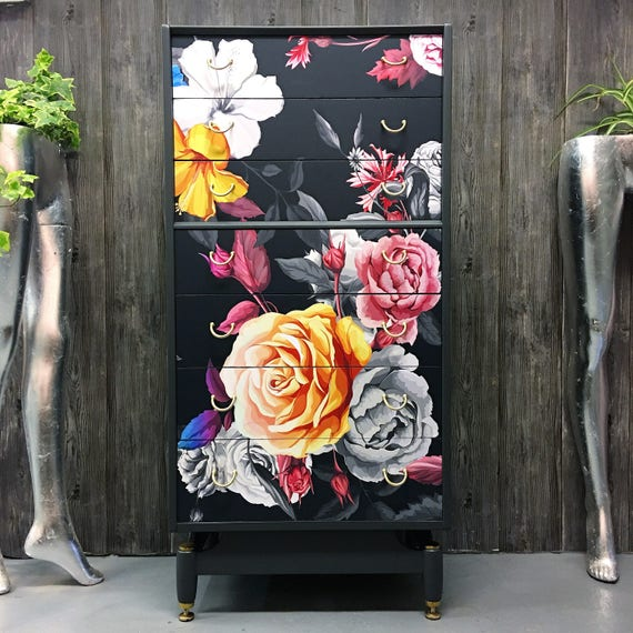 Mid century 1950's Gplan chest of drawers oversized floral