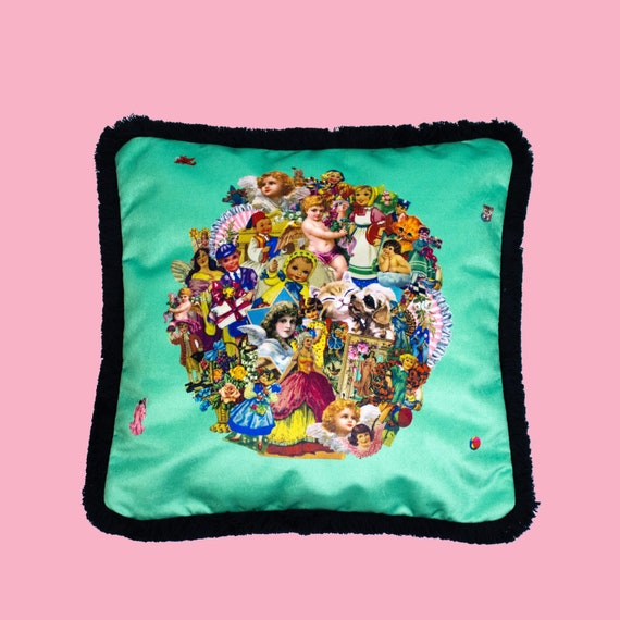 Vintage Scraps Mint - Luxury velvet cushion cover