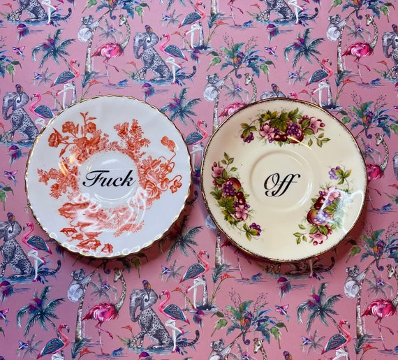 Pair decorative wall hanging plates - F**k Off