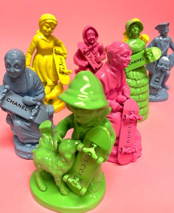 Upcycled parody china figurines