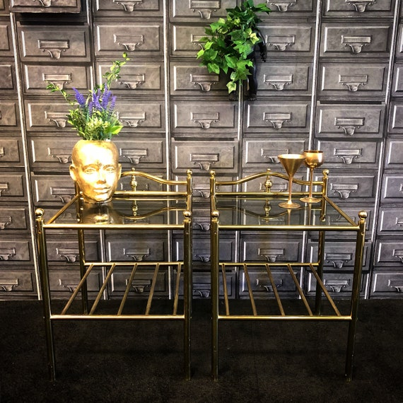 Pair vintage retro brass and smoked glass bedside tables