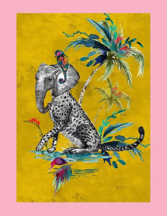 Chimiracle mustard prints ELEPHANT