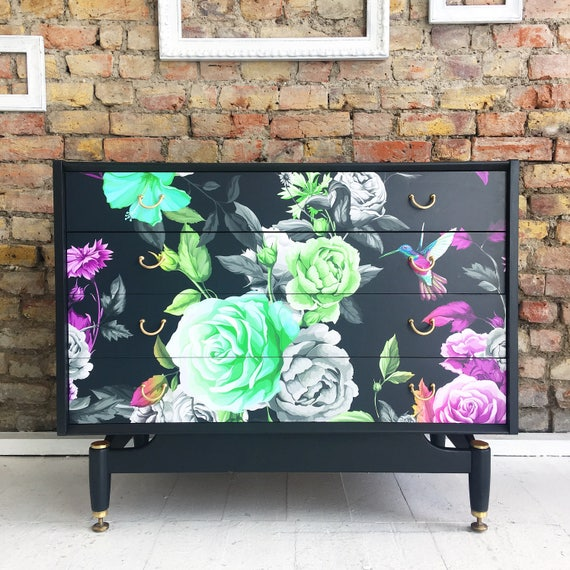 Upcycled vintage gold lable Gplan chest of drawers in dark blooms