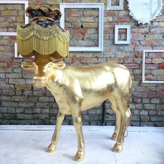 Gold leaf calf lamp