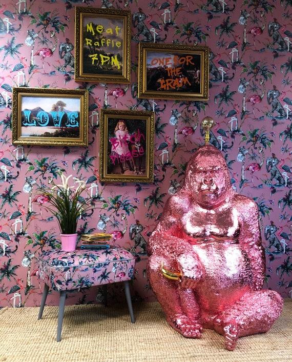 Metallic pink gorilla lamp