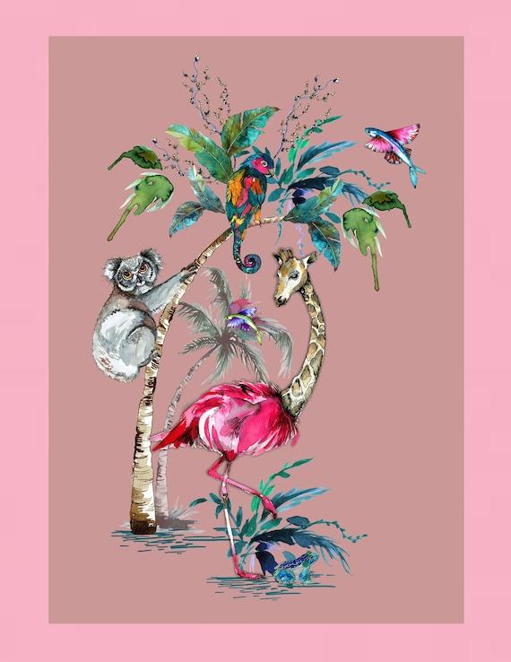 Chimiracle pink prints GIRAFFE