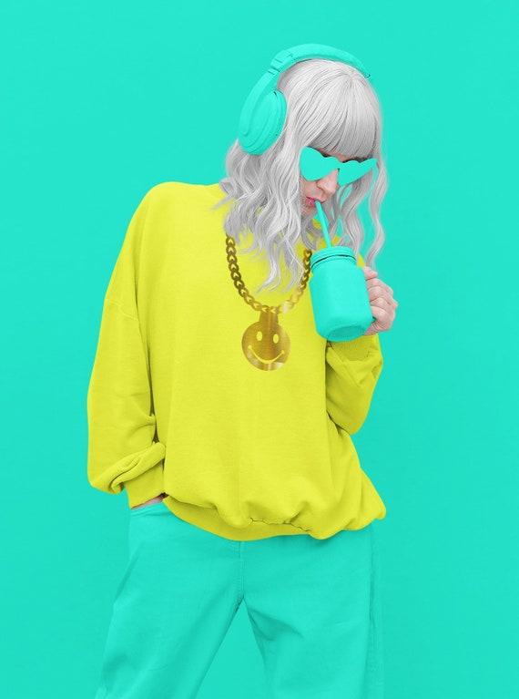 Neon Yellow - Gold metallic smiley sweatshirt