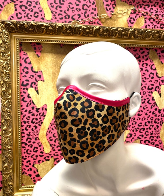 Leopard and Pink cotton face mask