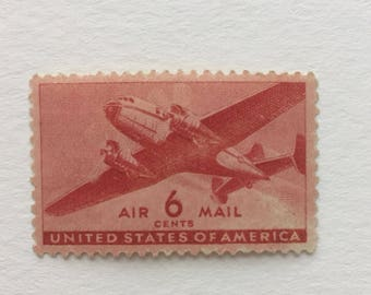 10 Twin-Motored Transport Plane Air Mail 6c US postage stamp unused - Vintage 1941 - red airmail airplane aviation