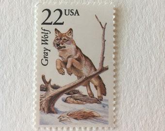 10 Gray Wolf 22c US postage stamps unused - Vintage 1987 - North American Wildlife nature