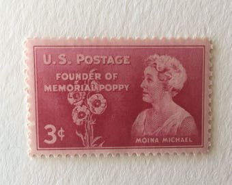 10 Memorial Poppy 3c US postage stamp unused - Vintage 1948 - Red Moina Michael WWI veterans Flanders Field