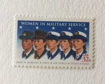 10 Women in Military Service 32c US postage stamp unused - 1997 Vintage -  blue Army Navy Marines Air Force Coast Guard